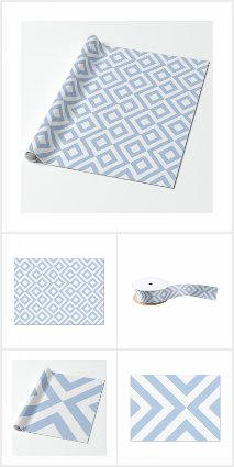 Airy Light Blue and White Gift Wrapping Supplies