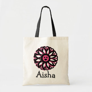 Aisha Happy Flower Personalized Tote Bag