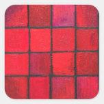 Aislado 16 cuadrados rojos (expresionismo calcomanía cuadrada personalizada