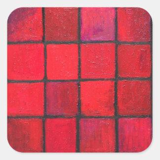 Aislado 16 cuadrados rojos (expresionismo pegatina cuadrada