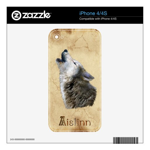 AISLINN que grita la piel del iPhone 4 de la fauna Calcomanías Para El iPhone 4S