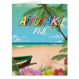 Aitutaki Air travel poster Card