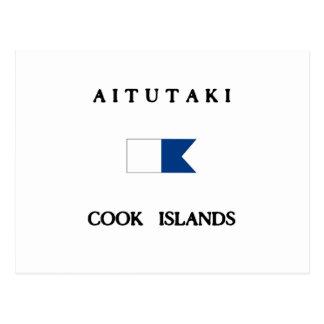 Aitutaki Cook Islands Alpha Dive Flag Postcard