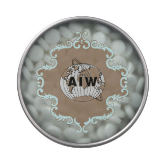 AIW Logo on Aqua and Brown Scroll Frame Candy Tin