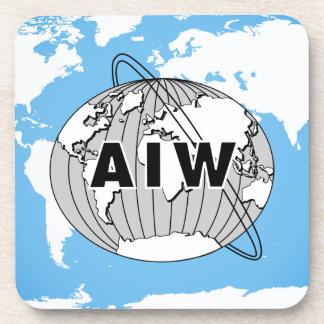 AIW Logo on World Map Coaster Set