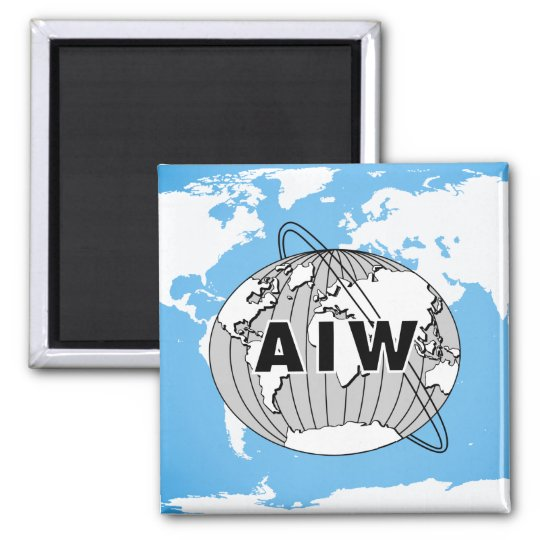 AIW Logo on World Map Magnet