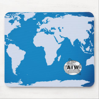AIW Logo on World Map, Rectangular Mouse Pad