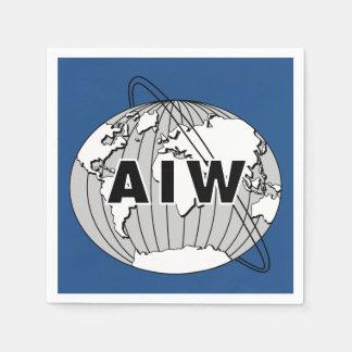 AIW Logo Paper Napkins, Blue Background Paper Napkin