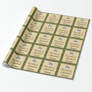 AIW Logo & Script - Green Floral Background Wrapping Paper