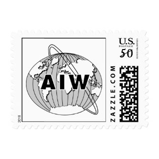 AIW Logo Stamp, Small Size, Black on White Postage