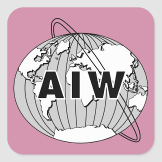 AIW Logo Stickers, Changeable Background Colors Square Sticker
