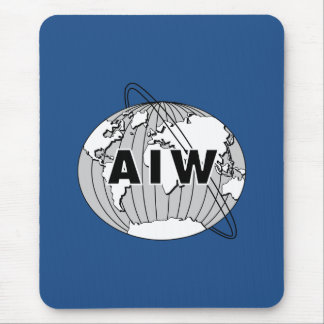 AIW Medium Logo on Vertical Blue Mousepad