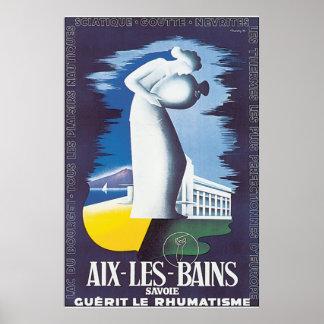 Aix Les Bains Vintage Travel Poster