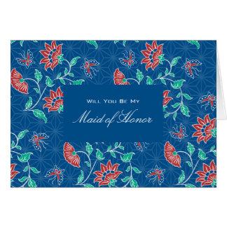 Aiyana Floral Batik Be My Maid of Honor Invitation Greeting Card