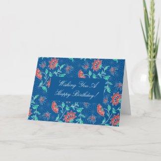 Aiyana Floral Batik Birthday Card