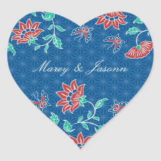 Aiyana Floral Batik Bride & Groom Heart Sticker