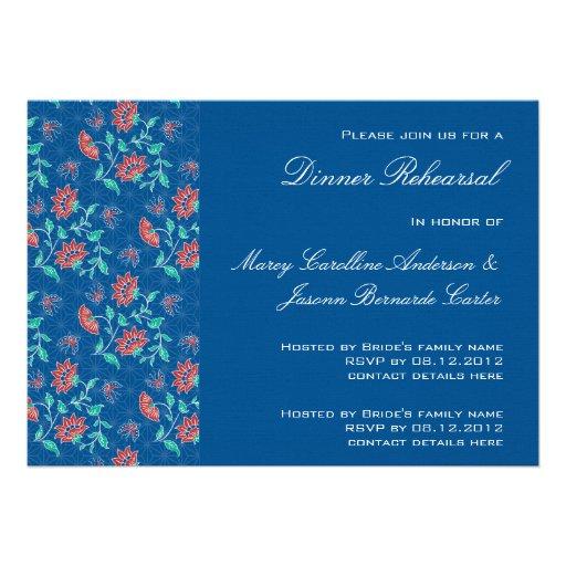 Aiyana Floral Batik Rehearsal Dinner Invitation 3