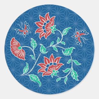 Aiyana Floral Batik Round Sticker