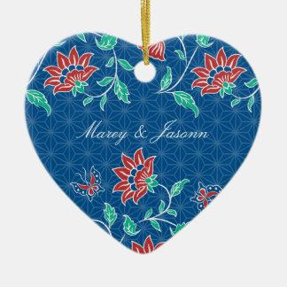 Aiyana Floral Batik Wedding Heart Ornament