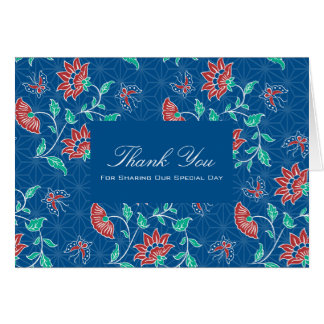 Aiyana Floral Batik Wedding Thank You Card