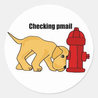 AJ- Cute Puppy Dog Checking pmail Fire Hydrant Classic Round Sticker