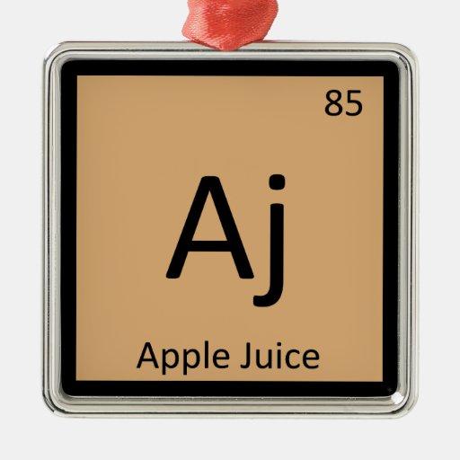 Aj - símbolo de la tabla periódica de la química d ornamento de navidad