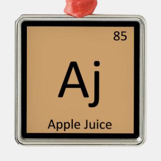 Aj - símbolo de la tabla periódica de la química adorno cuadrado plateado
