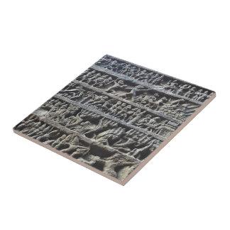 Ajanta Caves Hindu Sculpture Photo Print Ceramic Tile