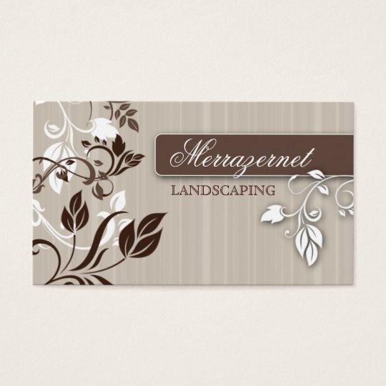 Ajardinar las hojas del beige del salón de la tarjetas de visita