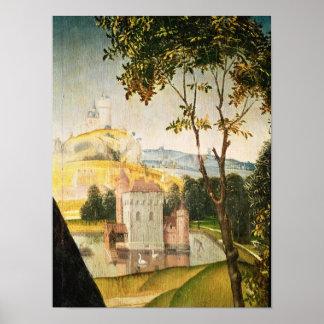 Ajardine con el castillo en una fosa y dos cisnes póster