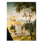 Ajardine con el castillo en una fosa y dos cisnes postales