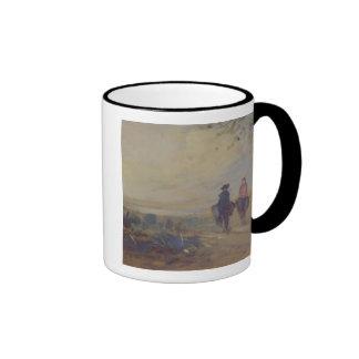 Ajardine con el lago y dos figuras que montan, taza de dos colores