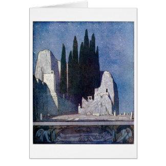 Ajardine con las tumbas, las rocas, y la arboleda  tarjeta de felicitación