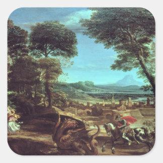 Ajardine con San Jorge y el dragón, c.1610 Pegatina Cuadrada