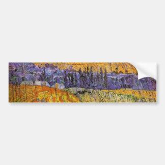 Ajardine en Auvers en la lluvia de Van Gogh Pegatina Para Auto