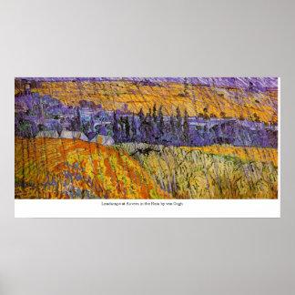 Ajardine en Auvers en la lluvia de Van Gogh Póster