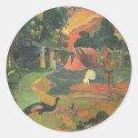 Ajardine los pavos reales de w por Gauguin, bella Pegatina Redonda