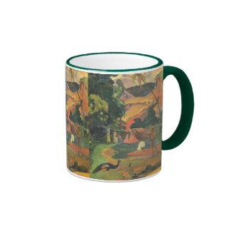 Ajardine los pavos reales de w por Gauguin bella Tazas