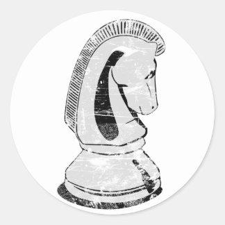 ajedrez - caballero pegatina redonda