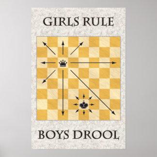 Ajedrez - chicas regla, Drool de los muchachos Impresiones