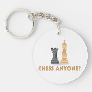 Ajedrez cualquier persona pedazos de ajedrez llavero redondo acrílico a doble cara