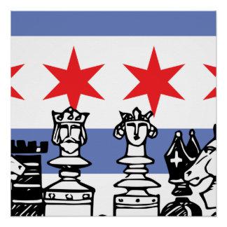 Ajedrez de la bandera de Chicago Perfect Poster