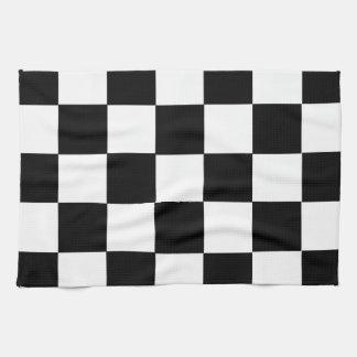 ajedrez de las casillas blancas del negro de la ba toallas de cocina