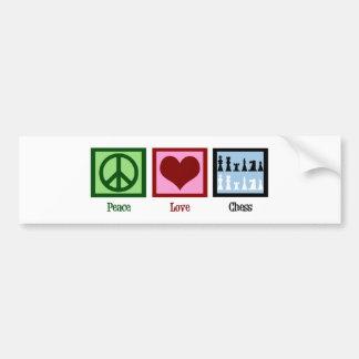 Ajedrez del amor de la paz pegatina de parachoque