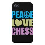Ajedrez del amor de la paz iPhone 4 protectores