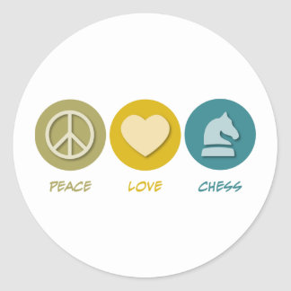 Ajedrez del amor de la paz etiqueta redonda
