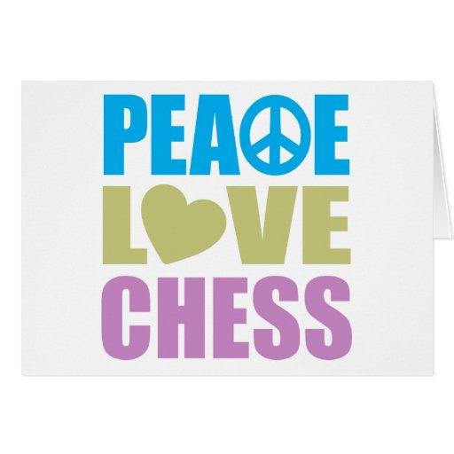 Ajedrez del amor de la paz tarjeta de felicitación