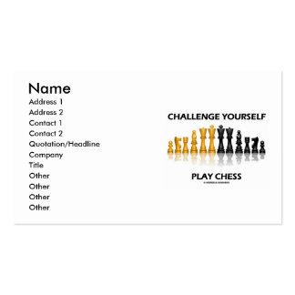 Ajedrez del juego del desafío usted mismo (actitud tarjetas de visita