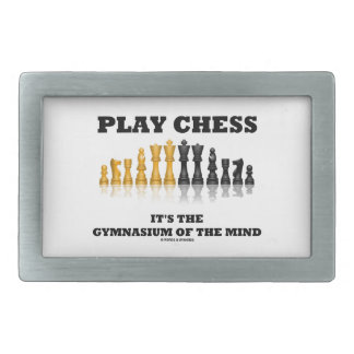 Ajedrez del juego es el gimnasio de la mente hebillas cinturon rectangulares