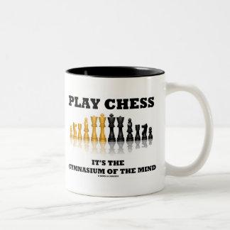 Ajedrez del juego es el gimnasio de la mente tazas de café